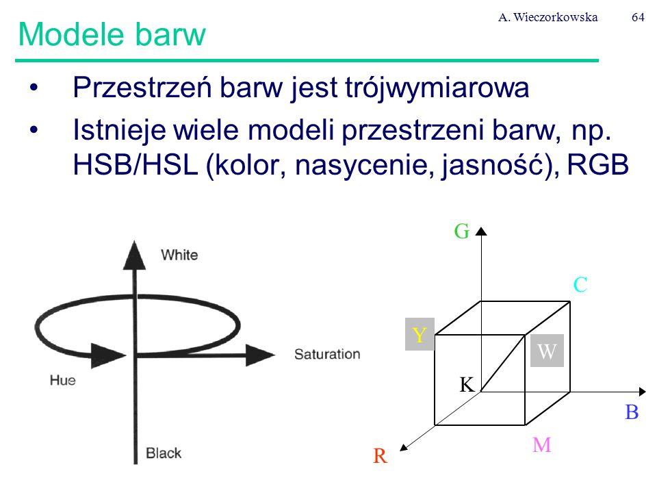 A. Wieczorkowska64 Modele barw Przestrzeń barw jest trójwymiarowa Istnieje wiele modeli przestrzeni barw, np. HSB/HSL (kolor, nasycenie, jasność), RGB