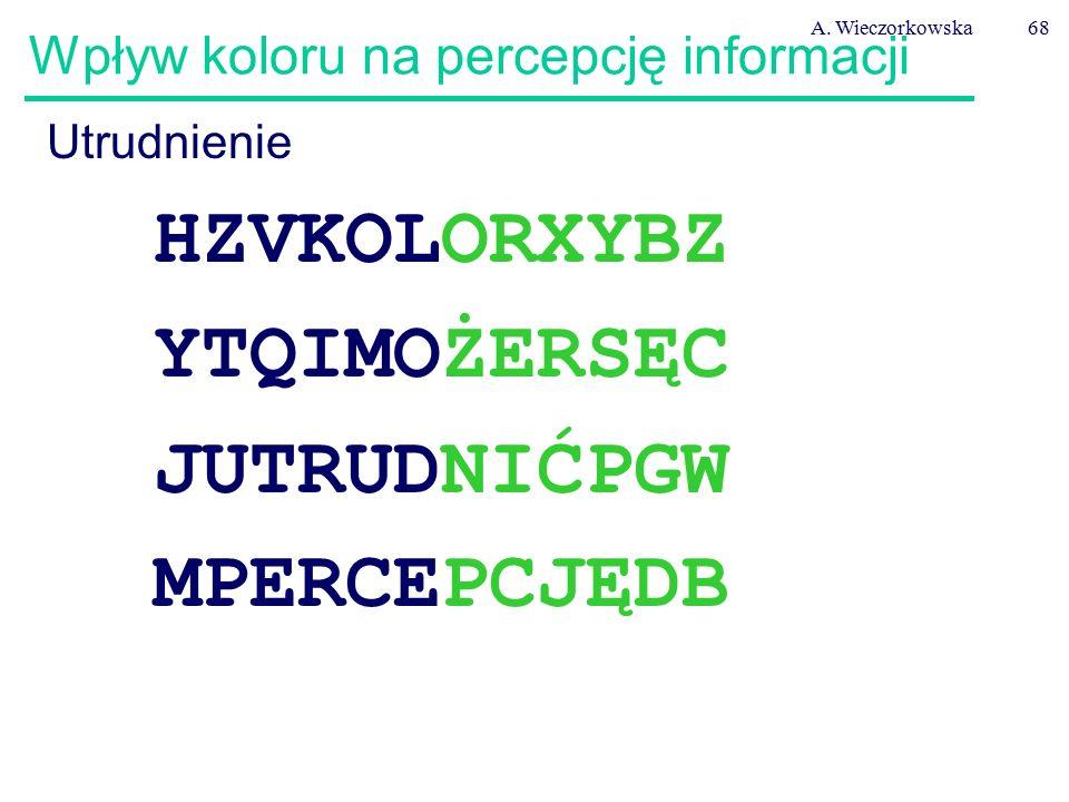 A. Wieczorkowska68 Wpływ koloru na percepcję informacji Utrudnienie HZVKOLORXYBZ YTQIMOŻERSĘC JUTRUDNIĆPGW MPERCEPCJĘDB