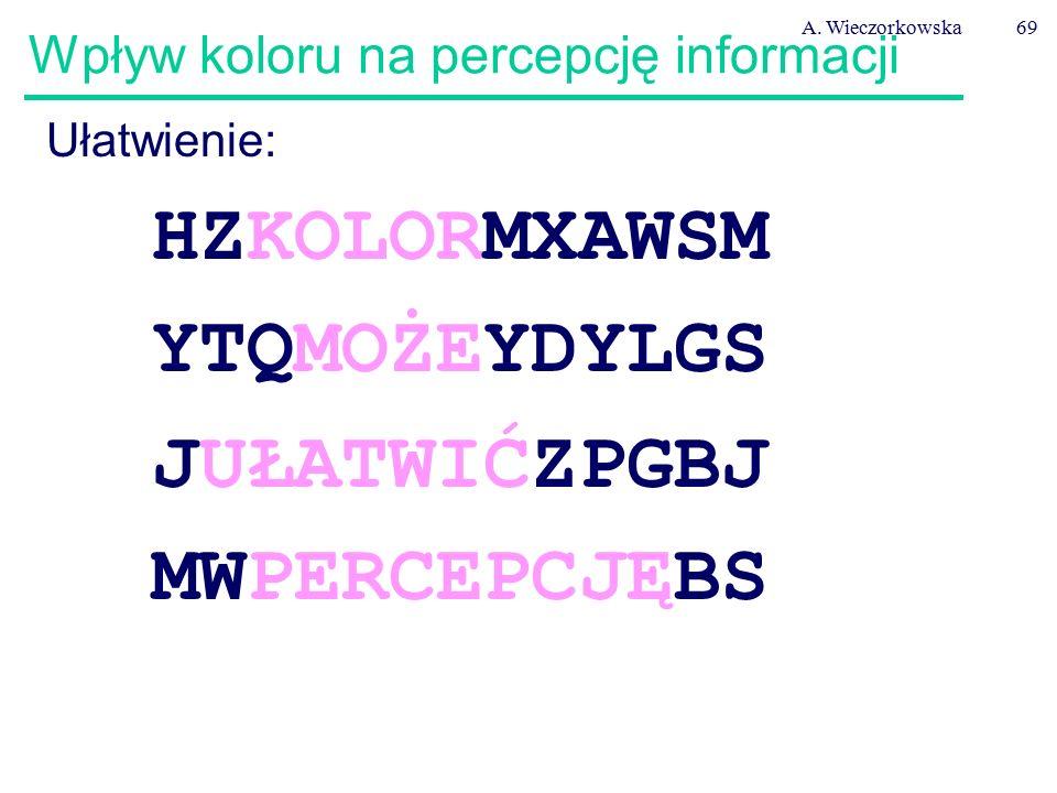A. Wieczorkowska69 Wpływ koloru na percepcję informacji Ułatwienie: HZKOLORMXAWSM YTQMOŻEYDYLGS JUŁATWIĆZPGBJ MWPERCEPCJĘBS