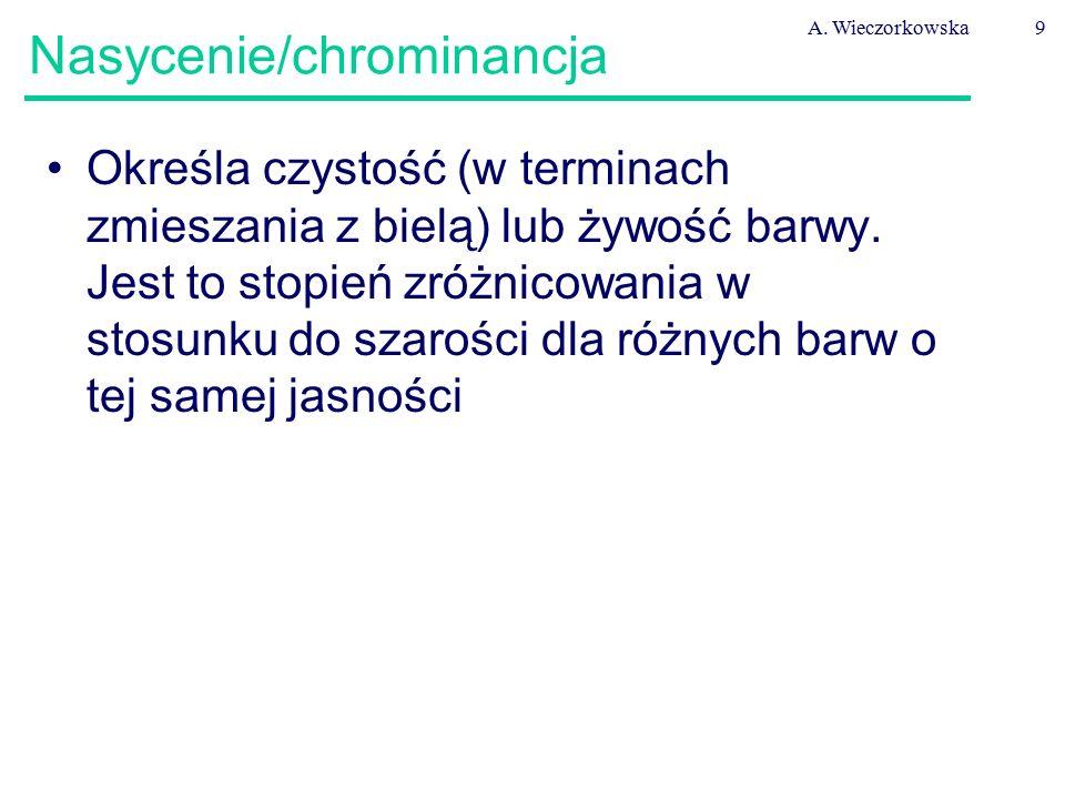 A. Wieczorkowska9 Nasycenie/chrominancja Określa czystość (w terminach zmieszania z bielą) lub żywość barwy. Jest to stopień zróżnicowania w stosunku