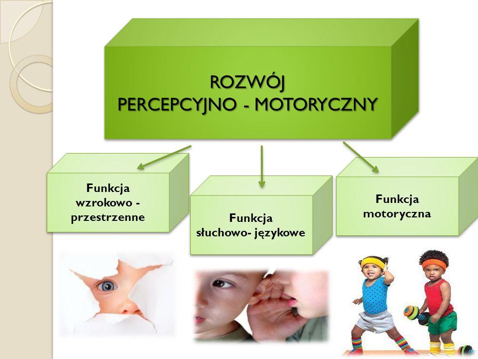ROZWÓJ PERCEPCYJNO - MOTORYCZNY ROZWÓJ Funkcja wzrokowo - przestrzenne Funkcja wzrokowo - przestrzenne Funkcja słuchowo- językowe Funkcja słuchowo- ję