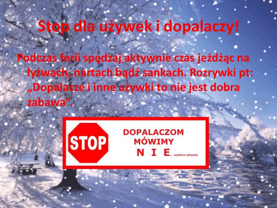 """Stop dla używek i dopalaczy! Podczas ferii spędzaj aktywnie czas jeżdżąc na łyżwach, nartach bądź sankach. Rozrywki pt: """"Dopalacze i inne używki to ni"""