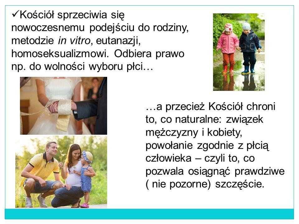 Kościół sprzeciwia się nowoczesnemu podejściu do rodziny, metodzie in vitro, eutanazji, homoseksualizmowi.