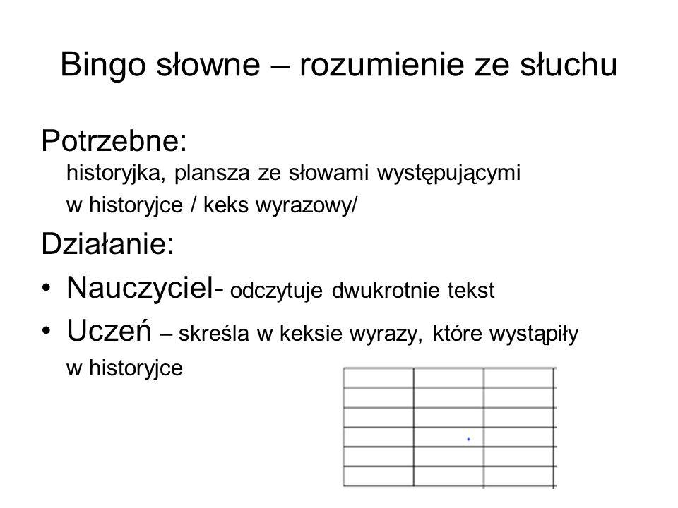 Bingo słowne – rozumienie ze słuchu Potrzebne: historyjka, plansza ze słowami występującymi w historyjce / keks wyrazowy/ Działanie: Nauczyciel- odczytuje dwukrotnie tekst Uczeń – skreśla w keksie wyrazy, które wystąpiły w historyjce