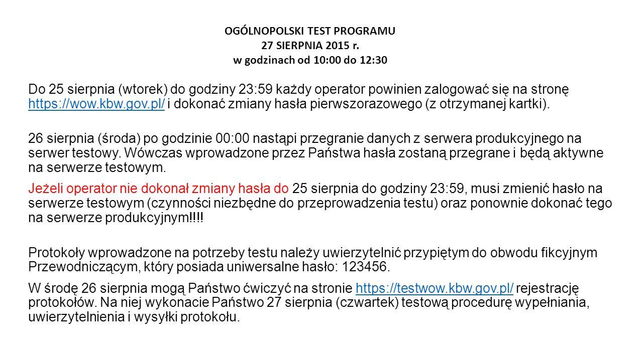 OGÓLNOPOLSKI TEST PROGRAMU 27 SIERPNIA 2015 r.