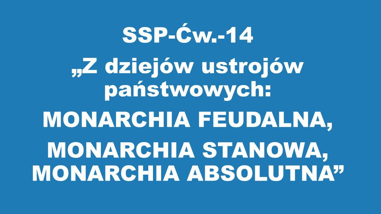 """SSP-Ćw.-14 """"Z dziejów ustrojów państwowych: MONARCHIA FEUDALNA, MONARCHIA STANOWA, MONARCHIA ABSOLUTNA"""""""