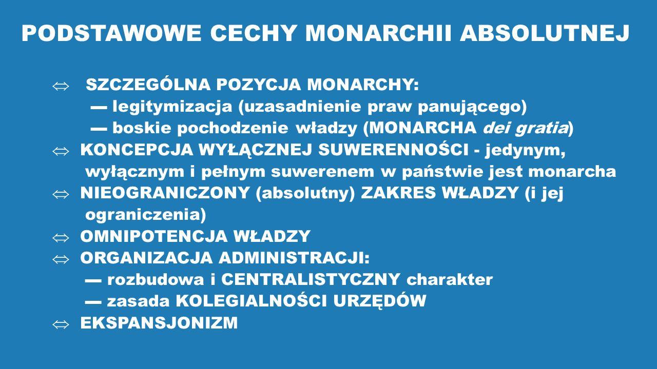 PODSTAWOWE CECHY MONARCHII ABSOLUTNEJ  SZCZEGÓLNA POZYCJA MONARCHY: ▬ legitymizacja (uzasadnienie praw panującego) ▬ boskie pochodzenie władzy (MONAR