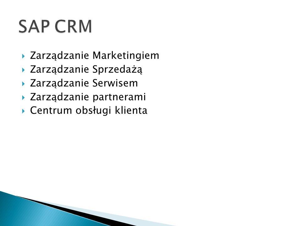  Zarządzanie Marketingiem  Zarządzanie Sprzedażą  Zarządzanie Serwisem  Zarządzanie partnerami  Centrum obsługi klienta