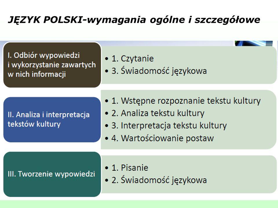 JĘZYK POLSKI-wymagania ogólne i szczegółowe