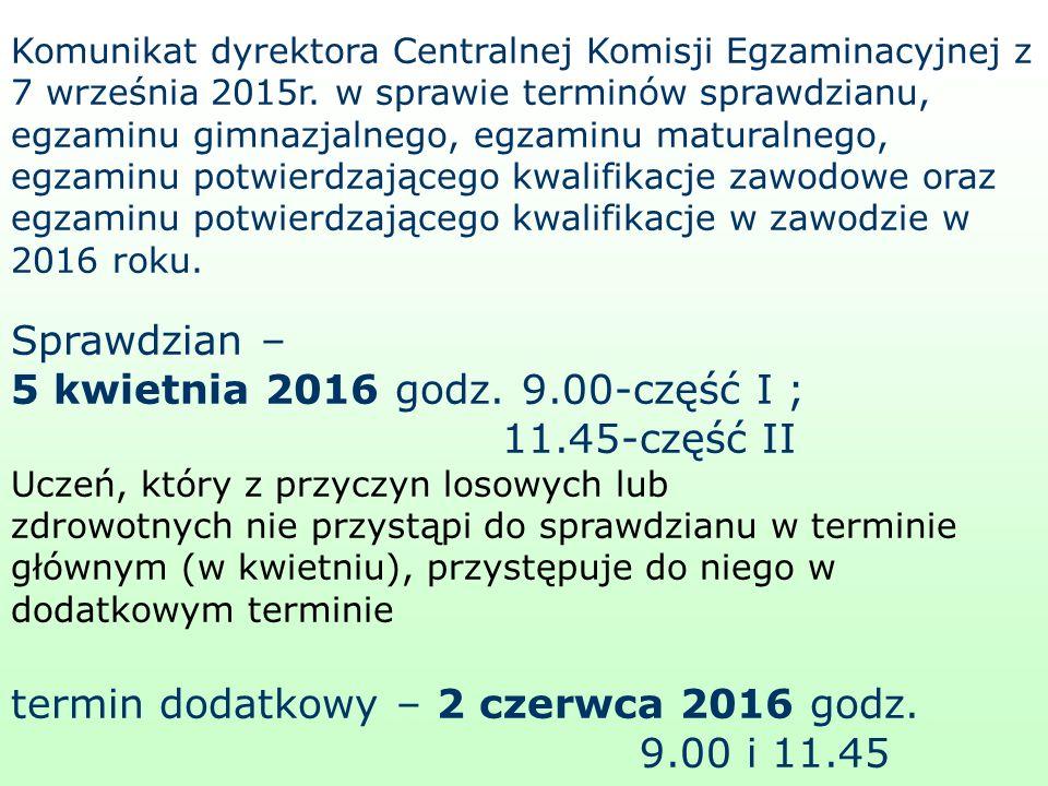 Komunikat dyrektora Centralnej Komisji Egzaminacyjnej z 7 września 2015r.