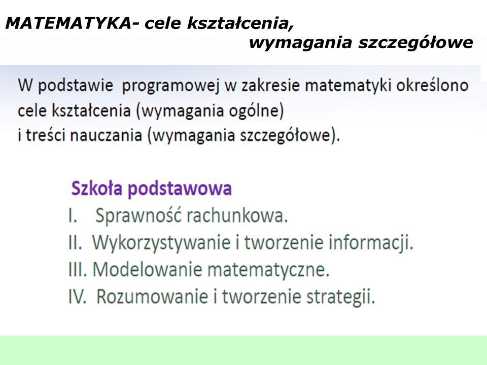 MATEMATYKA- cele kształcenia, wymagania szczegółowe