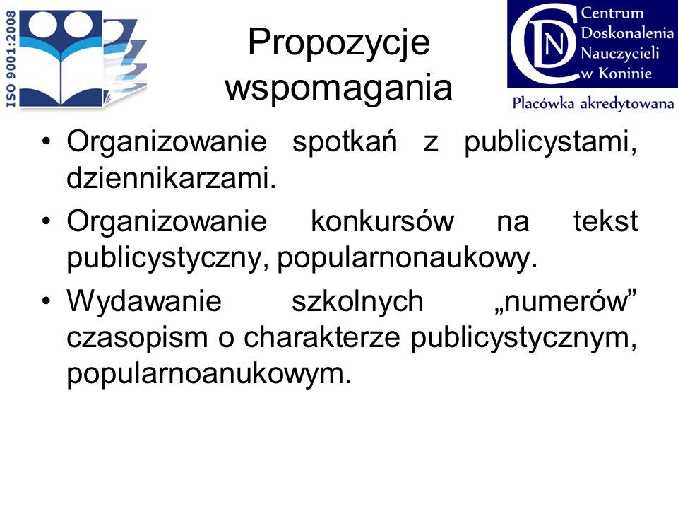 Propozycje wspomagania Organizowanie spotkań z publicystami, dziennikarzami. Organizowanie konkursów na tekst publicystyczny, popularnonaukowy. Wydawa