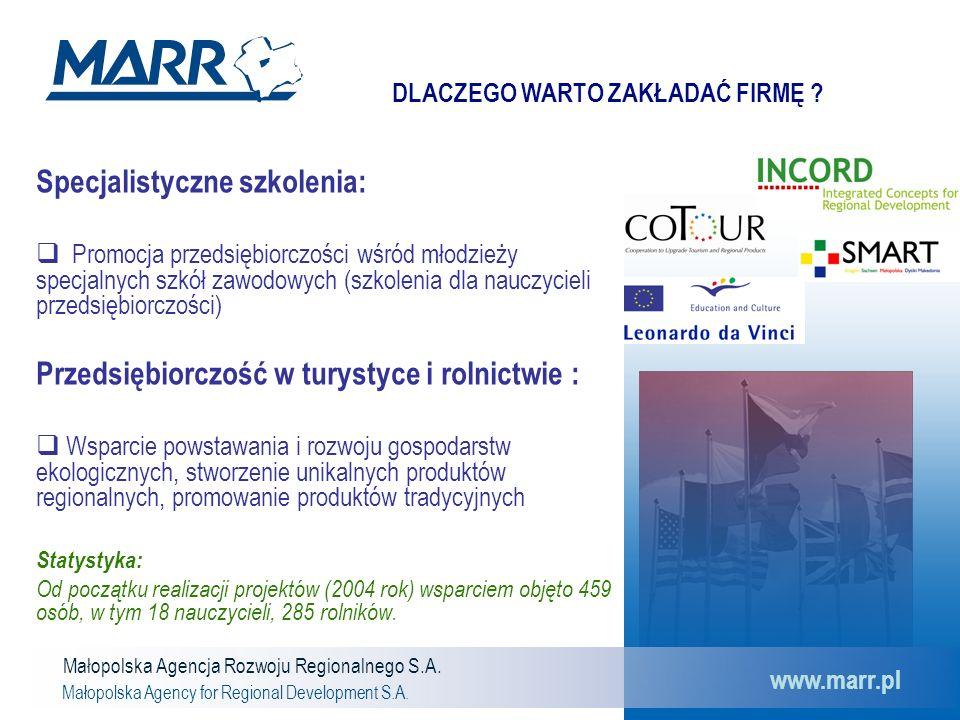 Małopolska Agencja Rozwoju Regionalnego S.A. Małopolska Agency for Regional Development S.A. www.marr.pl Specjalistyczne szkolenia:  Promocja przedsi