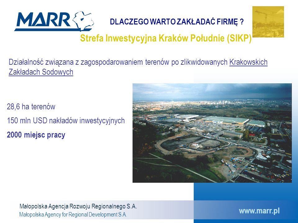 Małopolska Agencja Rozwoju Regionalnego S.A. Małopolska Agency for Regional Development S.A. www.marr.pl Strefa Inwestycyjna Kraków Południe (SIKP) Dz