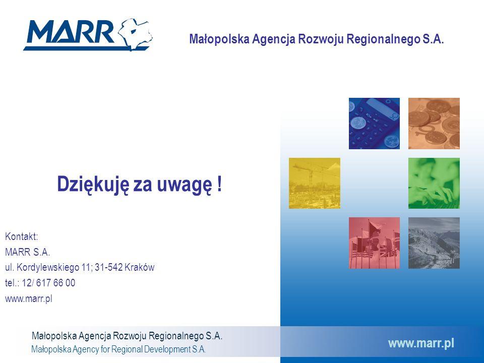 Małopolska Agencja Rozwoju Regionalnego S.A. Małopolska Agency for Regional Development S.A. www.marr.pl Dziękuję za uwagę ! Kontakt: MARR S.A. ul. Ko