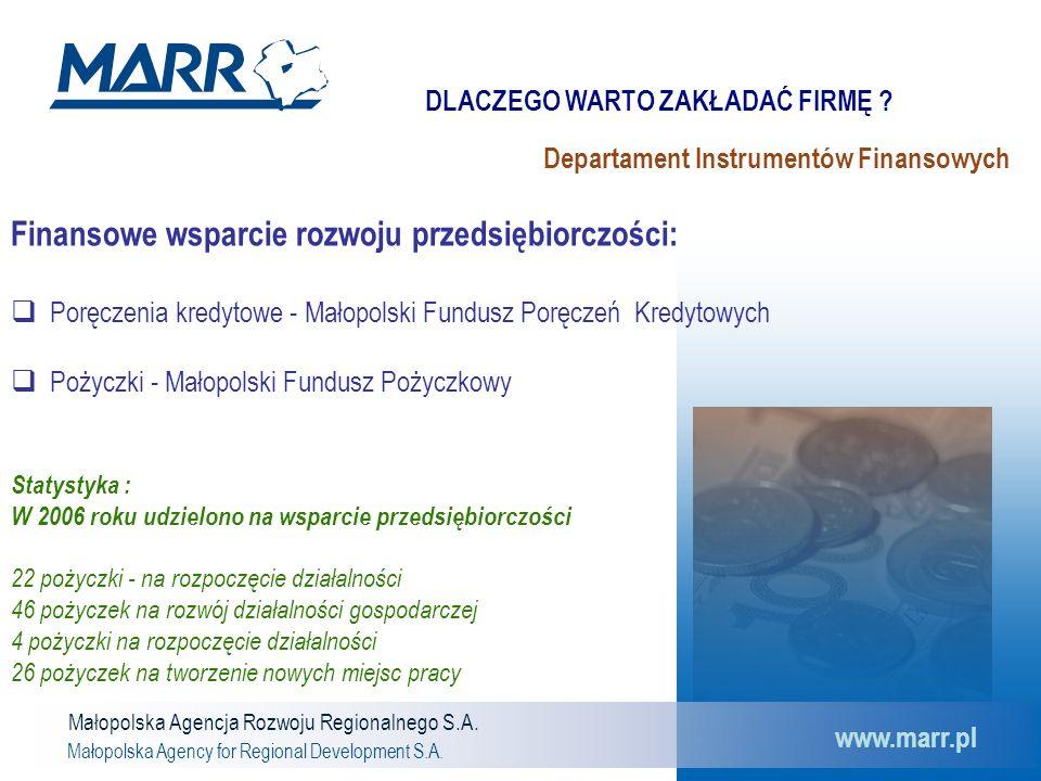 Małopolska Agencja Rozwoju Regionalnego S.A. Małopolska Agency for Regional Development S.A. www.marr.pl Departament Instrumentów Finansowych Finansow