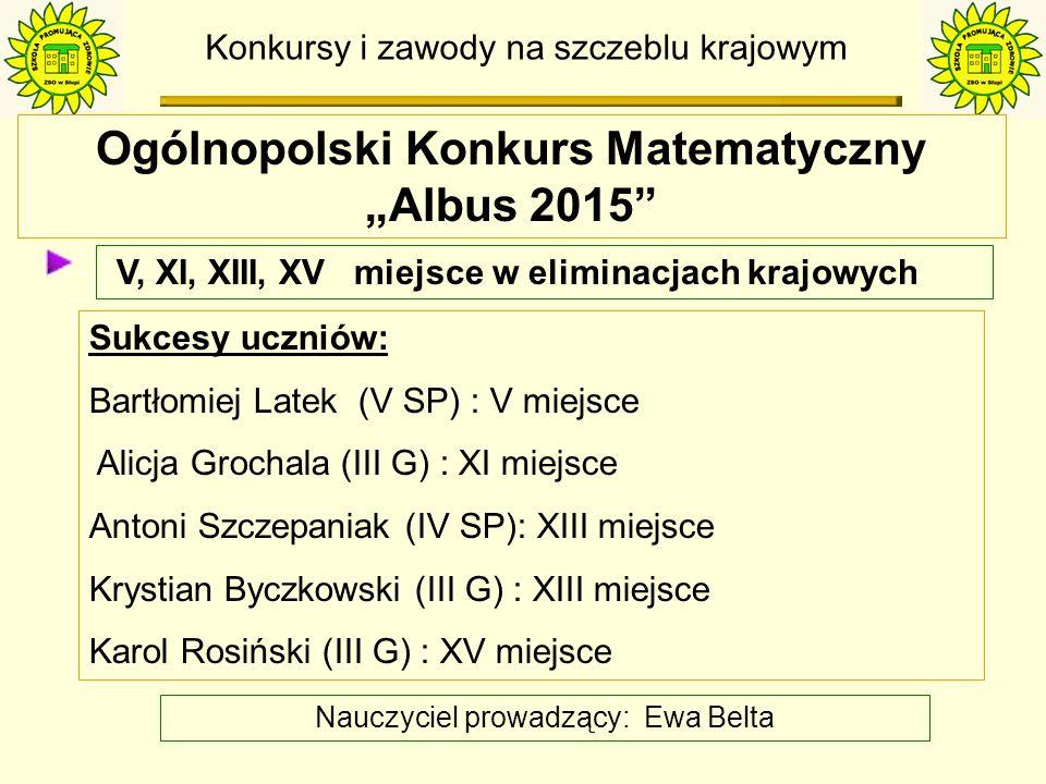 Konkursy i zawody na szczeblu gminy Mistrzostwa ZSO w Biegach Przełajowych klasy 1-3 szkoły podstawowej 1, 2, 3 miejsce na szczeblu gminy Sukcesy uczniów: dz – 1m.