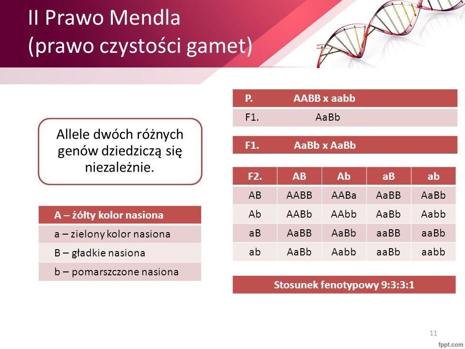 II Prawo Mendla (prawo czystości gamet) 11 Allele dwóch różnych genów dziedziczą się niezależnie. A – żółty kolor nasiona a – zielony kolor nasiona B