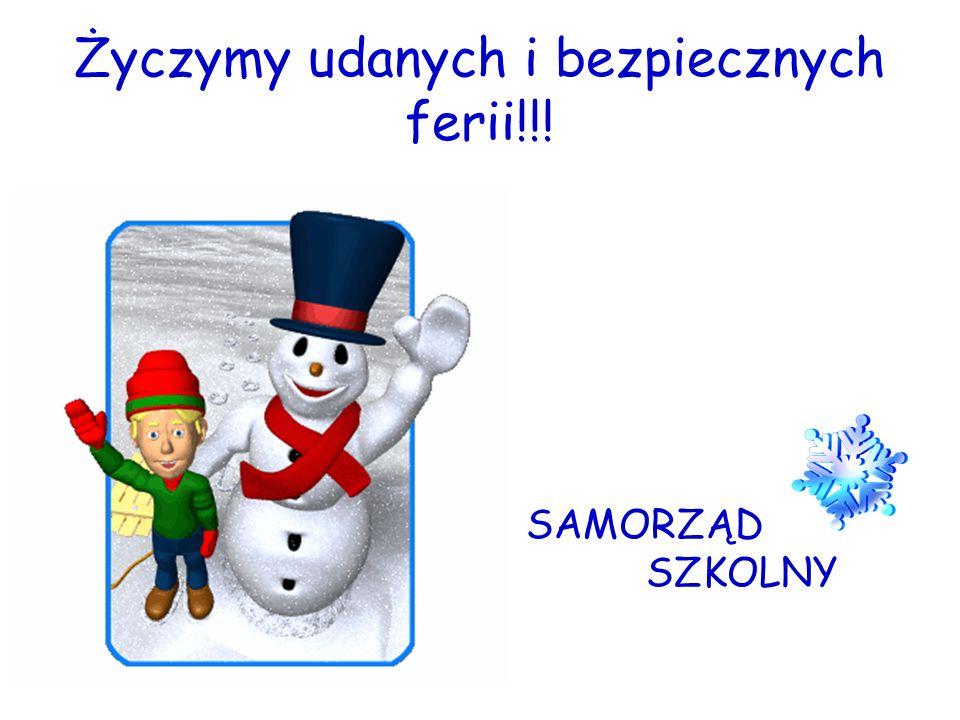 Życzymy udanych i bezpiecznych ferii!!! SAMORZĄD SZKOLNY