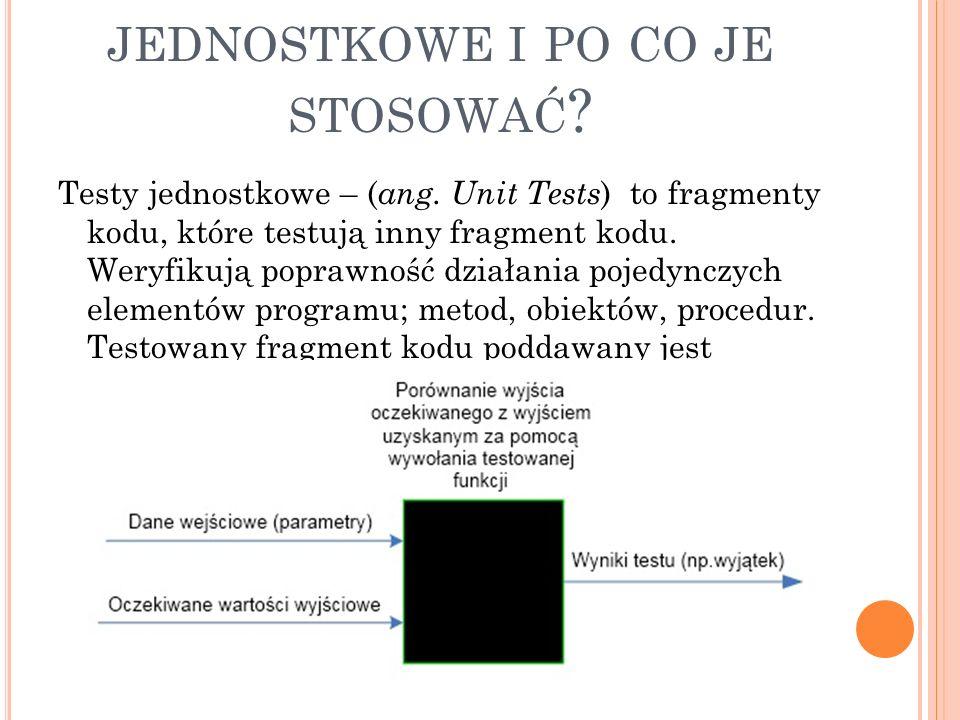C ZYM SĄ TESTY JEDNOSTKOWE I PO CO JE STOSOWAĆ . Testy jednostkowe – ( ang.