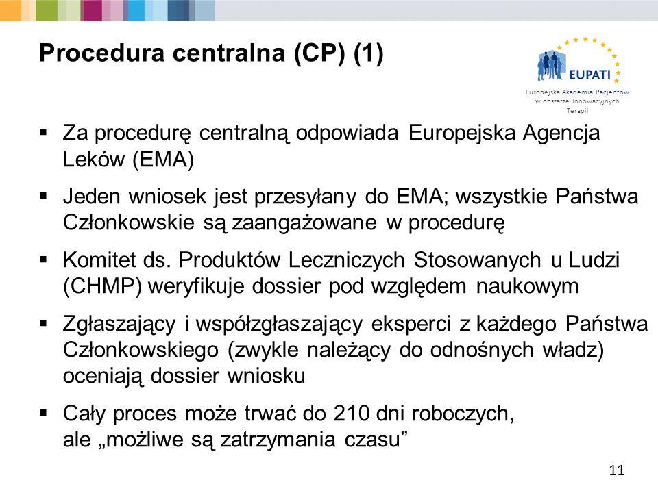 Europejska Akademia Pacjentów w obszarze Innowacyjnych Terapii  Za procedurę centralną odpowiada Europejska Agencja Leków (EMA)  Jeden wniosek jest
