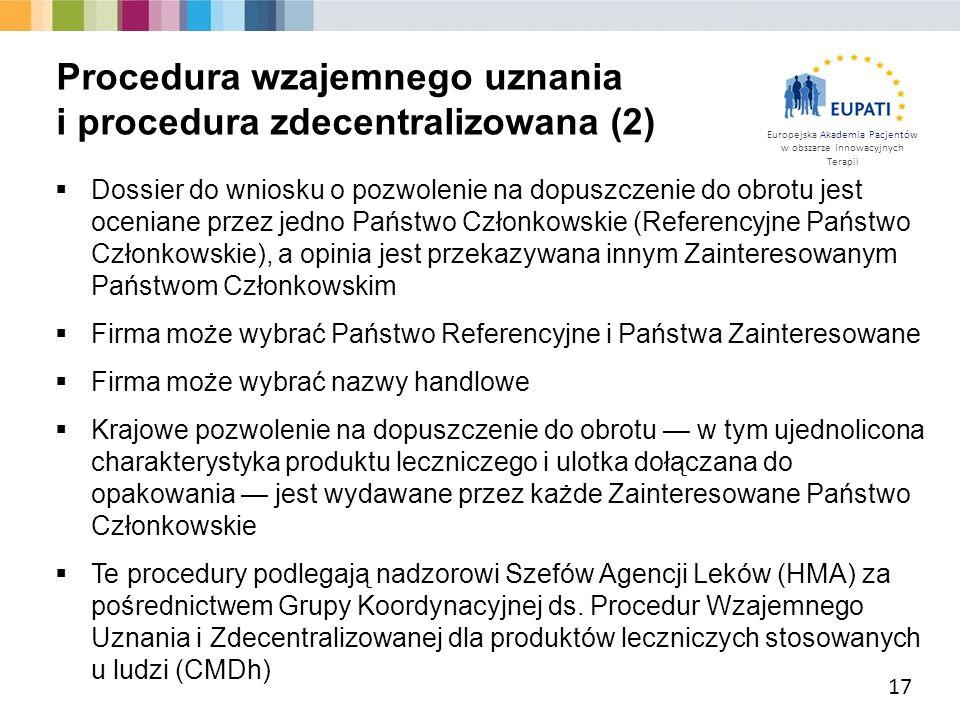 Europejska Akademia Pacjentów w obszarze Innowacyjnych Terapii  Dossier do wniosku o pozwolenie na dopuszczenie do obrotu jest oceniane przez jedno P