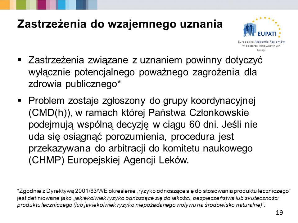 Europejska Akademia Pacjentów w obszarze Innowacyjnych Terapii  Zastrzeżenia związane z uznaniem powinny dotyczyć wyłącznie potencjalnego poważnego z