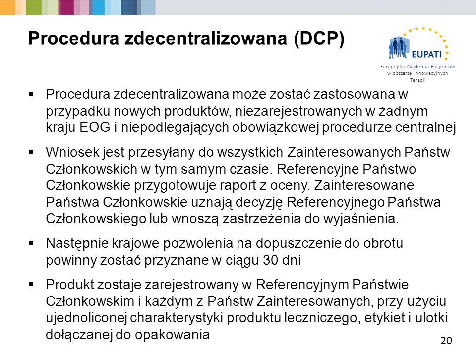 Europejska Akademia Pacjentów w obszarze Innowacyjnych Terapii  Procedura zdecentralizowana może zostać zastosowana w przypadku nowych produktów, nie
