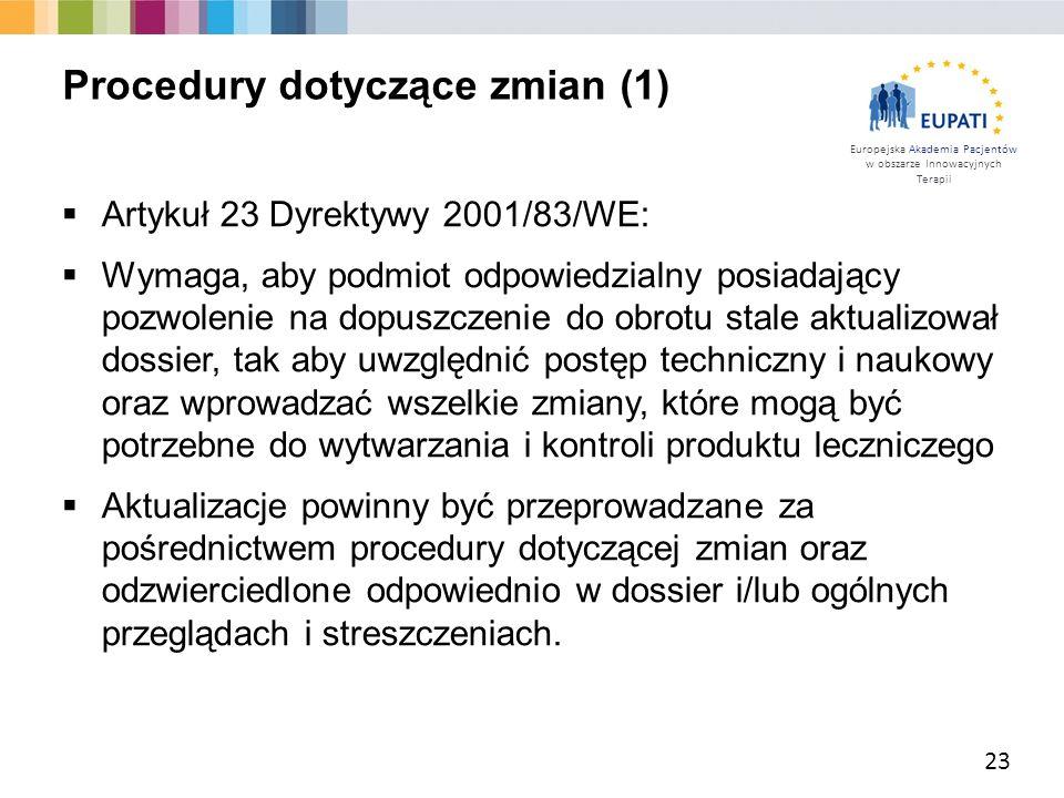 Europejska Akademia Pacjentów w obszarze Innowacyjnych Terapii  Artykuł 23 Dyrektywy 2001/83/WE:  Wymaga, aby podmiot odpowiedzialny posiadający poz