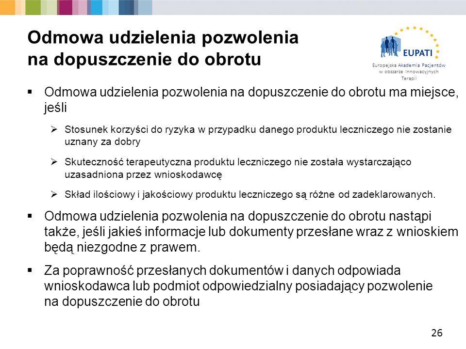 Europejska Akademia Pacjentów w obszarze Innowacyjnych Terapii  Odmowa udzielenia pozwolenia na dopuszczenie do obrotu ma miejsce, jeśli  Stosunek k