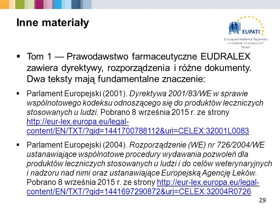 Europejska Akademia Pacjentów w obszarze Innowacyjnych Terapii  Tom 1 — Prawodawstwo farmaceutyczne EUDRALEX zawiera dyrektywy, rozporządzenia i różn