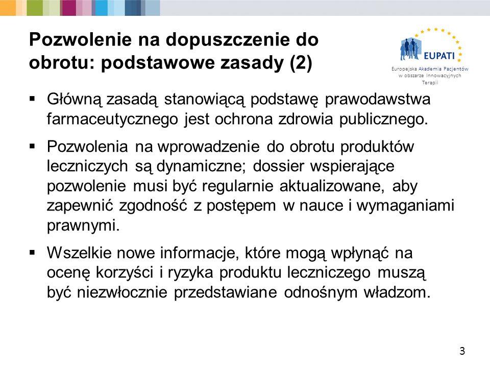 Europejska Akademia Pacjentów w obszarze Innowacyjnych Terapii  Wnioskodawca przesyła do odnośnych władz dossier do wniosku o pozwolenie na dopuszczenie do obrotu.