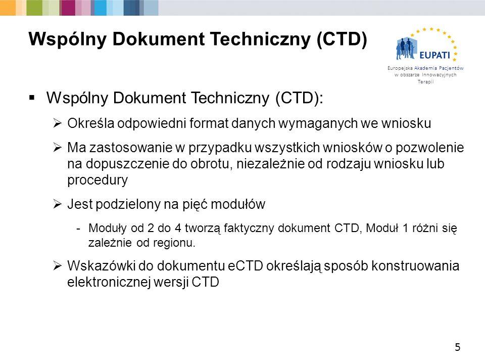 Europejska Akademia Pacjentów w obszarze Innowacyjnych Terapii  Wspólny Dokument Techniczny (CTD):  Określa odpowiedni format danych wymaganych we w