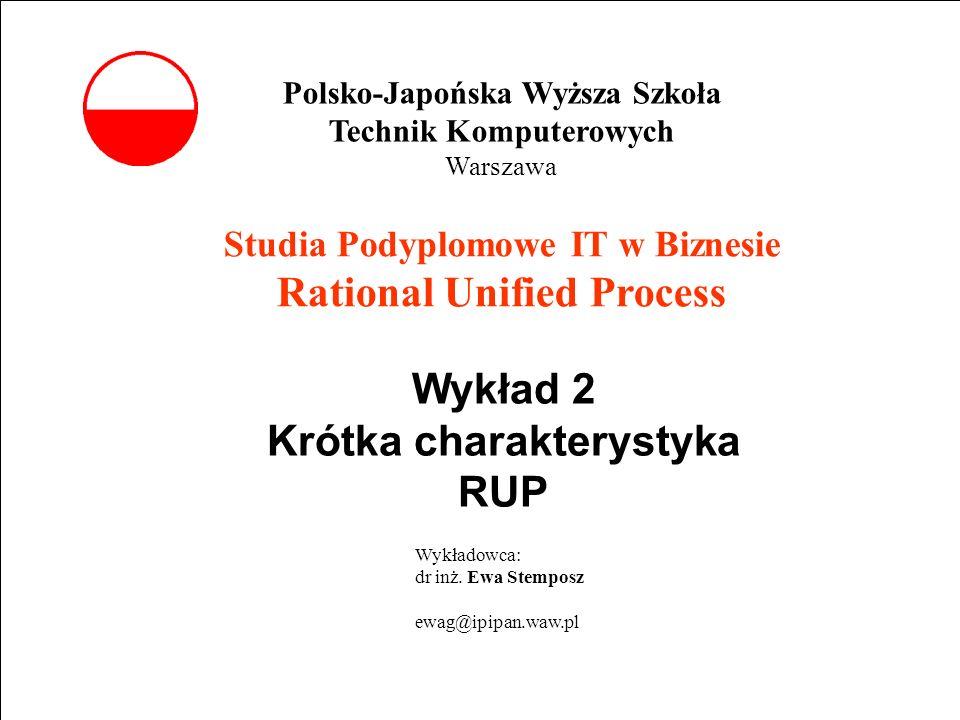 E. Stemposz. Rational Unified Process, Wykład 2, Slajd 1 Studia Podyplomowe IT w Biznesie Rational Unified Process Wykład 2 Krótka charakterystyka RUP