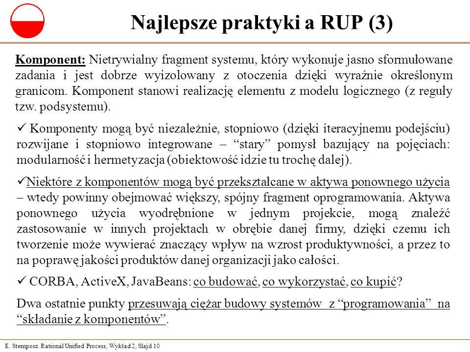 E. Stemposz. Rational Unified Process, Wykład 2, Slajd 10 Najlepsze praktyki a RUP (3) Komponent: Nietrywialny fragment systemu, który wykonuje jasno