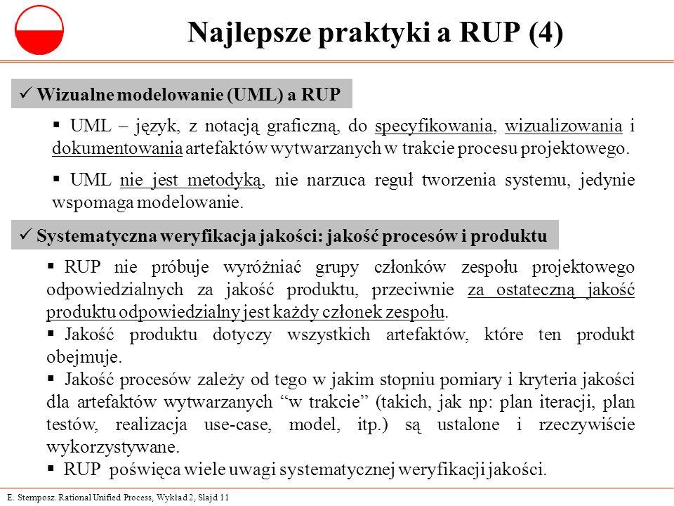 E. Stemposz. Rational Unified Process, Wykład 2, Slajd 11 Najlepsze praktyki a RUP (4) Wizualne modelowanie (UML) a RUP  UML – język, z notacją grafi