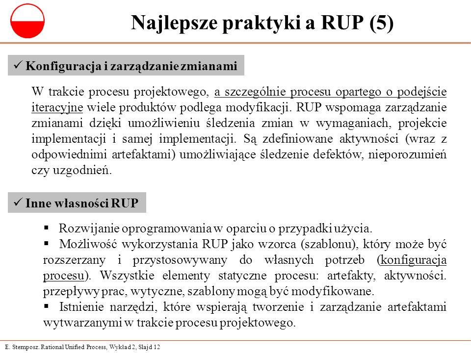E. Stemposz. Rational Unified Process, Wykład 2, Slajd 12 Najlepsze praktyki a RUP (5) Konfiguracja i zarządzanie zmianami W trakcie procesu projektow