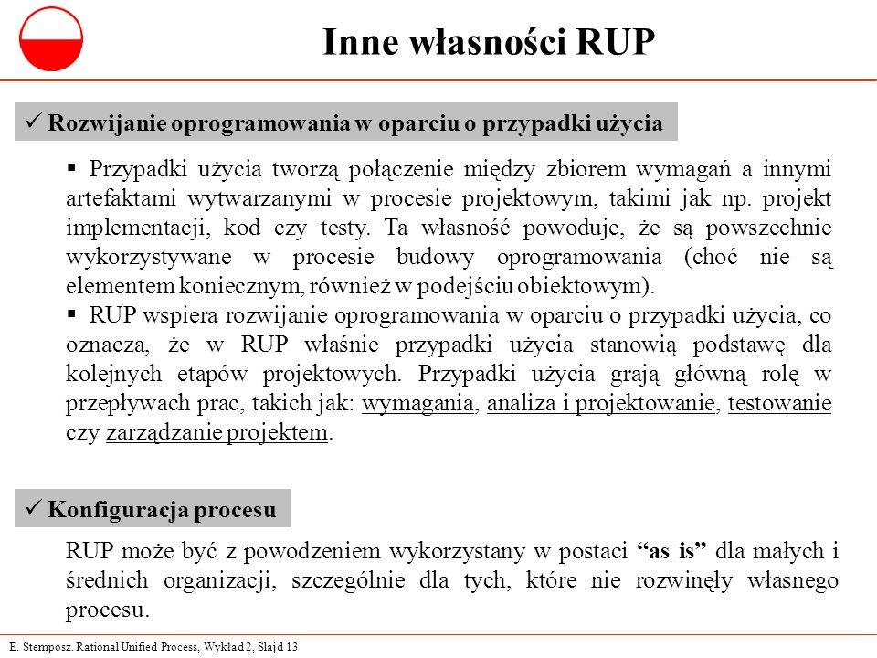 E. Stemposz. Rational Unified Process, Wykład 2, Slajd 13 Inne własności RUP Rozwijanie oprogramowania w oparciu o przypadki użycia  Przypadki użycia