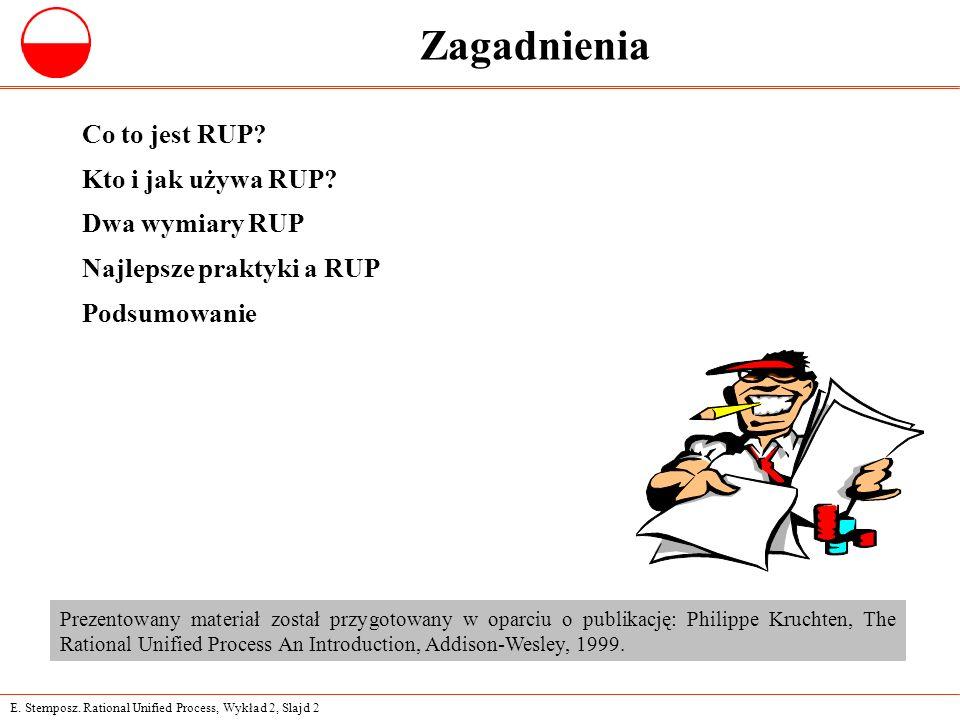 E. Stemposz. Rational Unified Process, Wykład 2, Slajd 2 Zagadnienia Co to jest RUP? Kto i jak używa RUP? Dwa wymiary RUP Najlepsze praktyki a RUP Pod