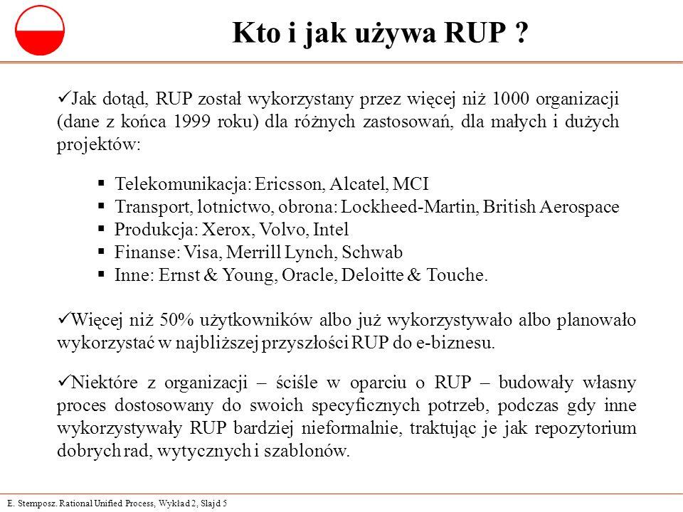 E. Stemposz. Rational Unified Process, Wykład 2, Slajd 5 Kto i jak używa RUP ? Jak dotąd, RUP został wykorzystany przez więcej niż 1000 organizacji (d