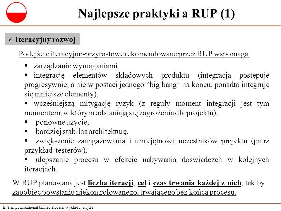 E. Stemposz. Rational Unified Process, Wykład 2, Slajd 8 Najlepsze praktyki a RUP (1) Iteracyjny rozwój  zarządzanie wymaganiami,  integrację elemen