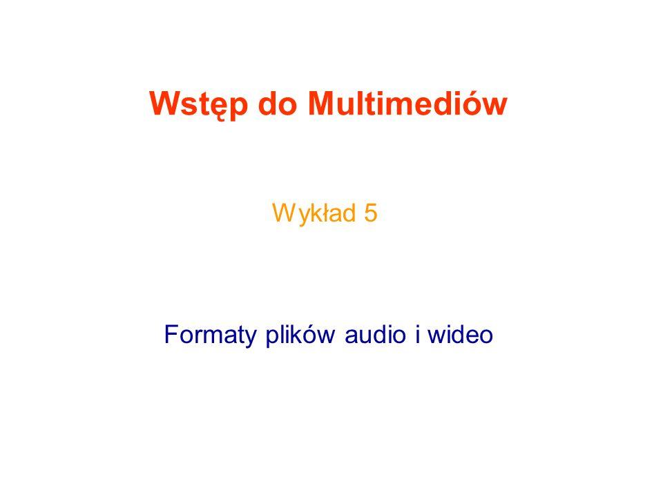 Wstęp do Multimediów Formaty plików audio i wideo Wykład 5