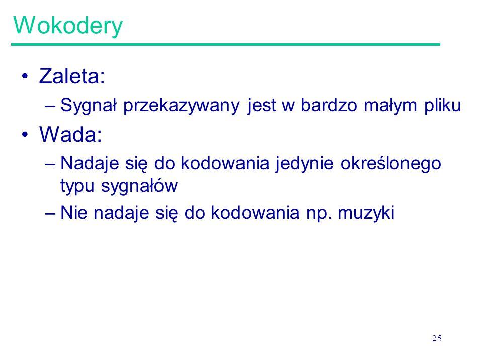 25 Wokodery Zaleta: –Sygnał przekazywany jest w bardzo małym pliku Wada: –Nadaje się do kodowania jedynie określonego typu sygnałów –Nie nadaje się do