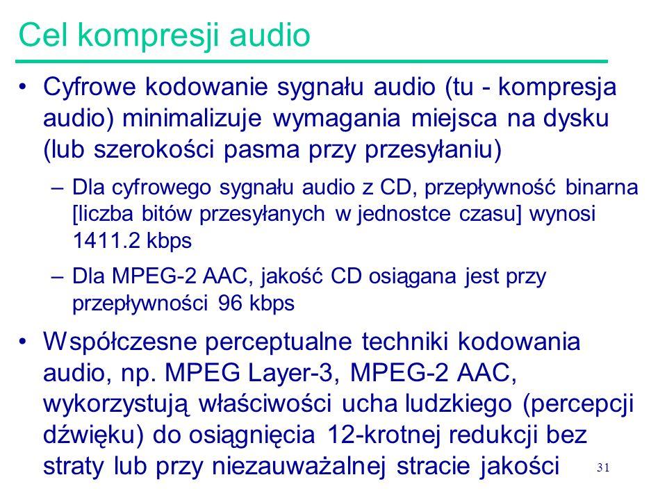 31 Cel kompresji audio Cyfrowe kodowanie sygnału audio (tu - kompresja audio) minimalizuje wymagania miejsca na dysku (lub szerokości pasma przy przes