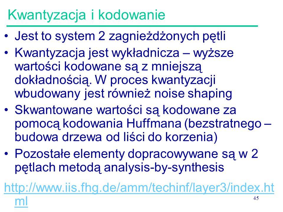 45 Kwantyzacja i kodowanie Jest to system 2 zagnieżdżonych pętli Kwantyzacja jest wykładnicza – wyższe wartości kodowane są z mniejszą dokładnością. W