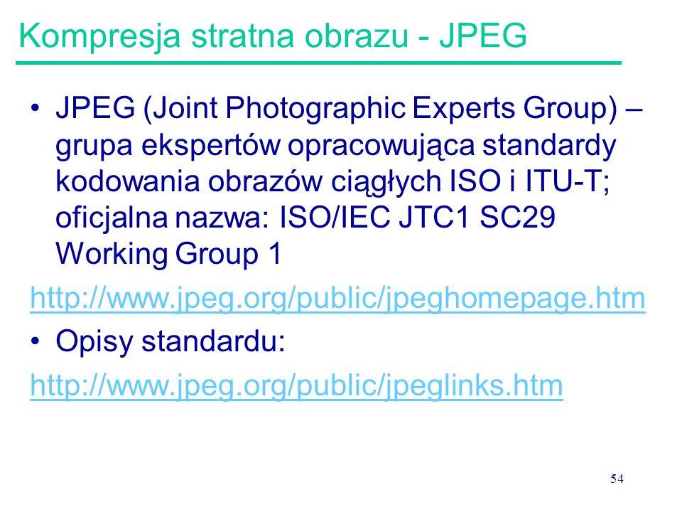 54 Kompresja stratna obrazu - JPEG JPEG (Joint Photographic Experts Group) – grupa ekspertów opracowująca standardy kodowania obrazów ciągłych ISO i I