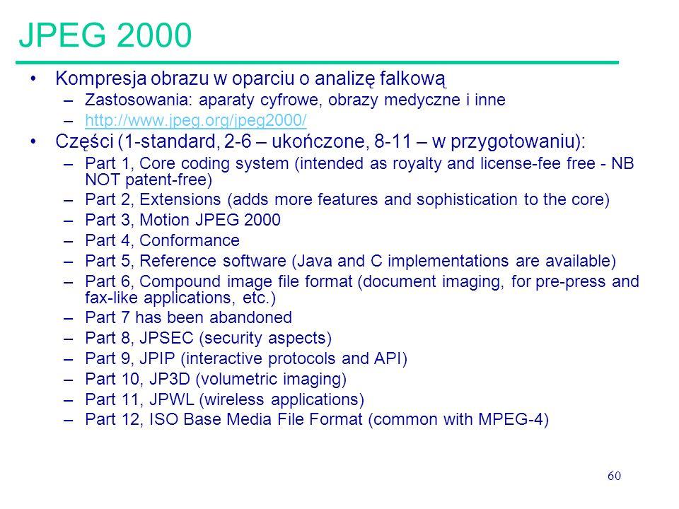 60 JPEG 2000 Kompresja obrazu w oparciu o analizę falkową –Zastosowania: aparaty cyfrowe, obrazy medyczne i inne –http://www.jpeg.org/jpeg2000/http://