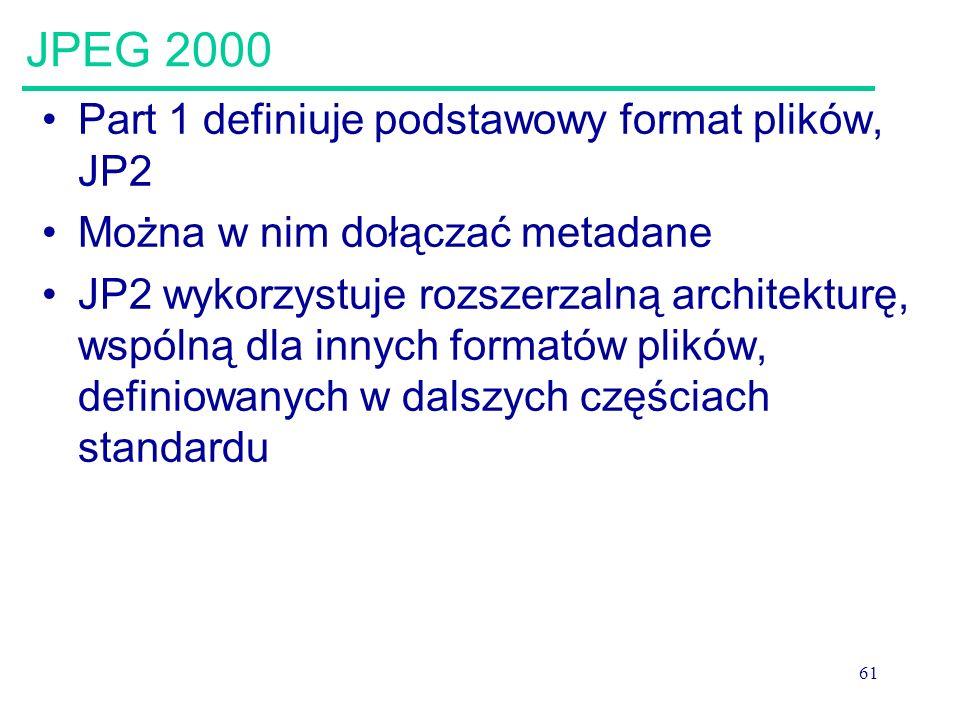 61 JPEG 2000 Part 1 definiuje podstawowy format plików, JP2 Można w nim dołączać metadane JP2 wykorzystuje rozszerzalną architekturę, wspólną dla inny