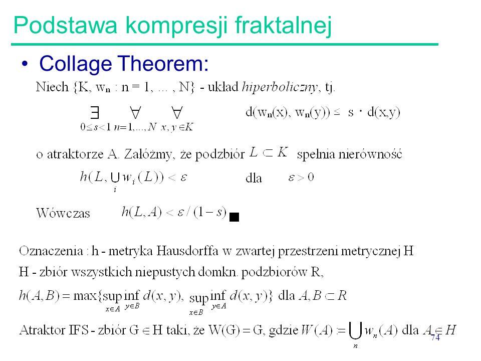 74 Podstawa kompresji fraktalnej Collage Theorem: