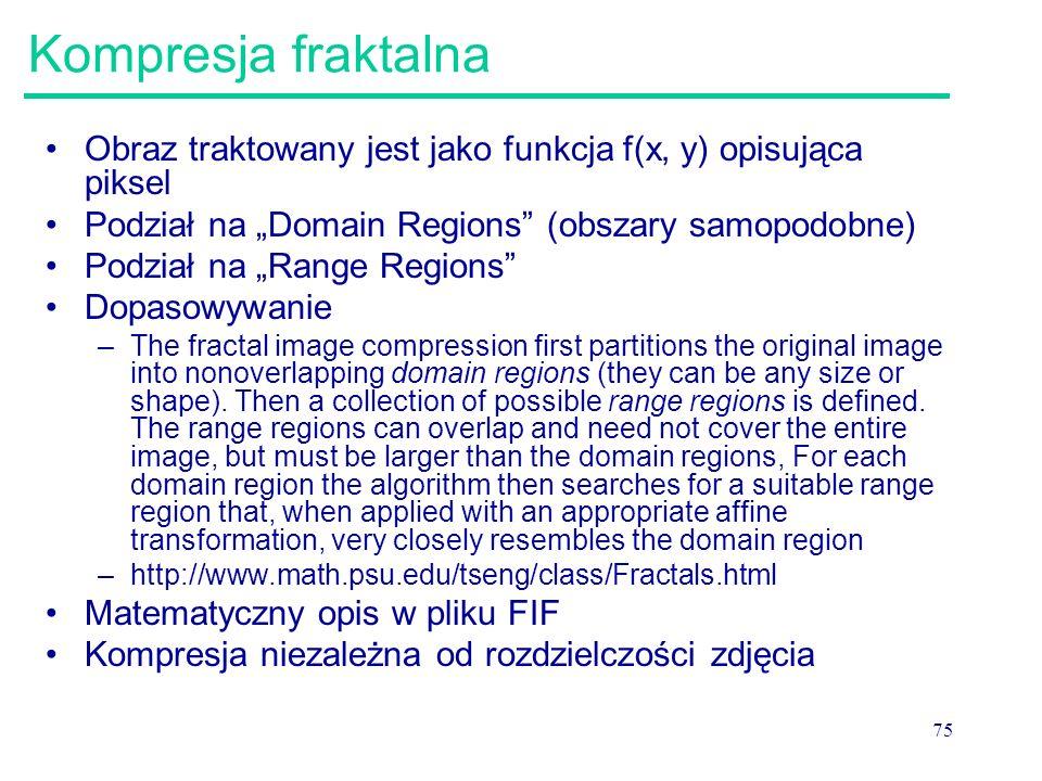 """75 Kompresja fraktalna Obraz traktowany jest jako funkcja f(x, y) opisująca piksel Podział na """"Domain Regions"""" (obszary samopodobne) Podział na """"Range"""